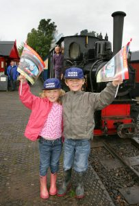 Rachael (5) and Andrew Wilson (6) from Much Hoole enjoying their day out at West Lancashire Narrow Guage Steam Railway.